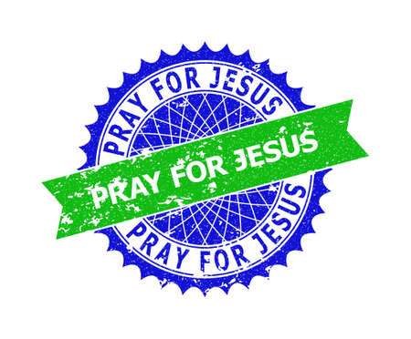 Vector PRAY FOR JESUS bicolor stamp with corroded style. Blue and green colors. Flat seal stamp with PRAY FOR JESUS text inside round sharp rosette.