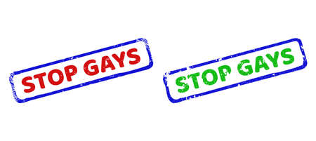 Vector STOP GAYS framed rubber imitations with unclean surface. Rough bicolor rectangle seal stamps. Red, blue, green colors used.