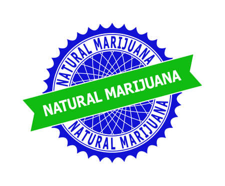 Vector NATURAL MARIJUANA bicolor template for rubber imitations with clean surface. Flat clean seal template with NATURAL MARIJUANA phrase inside round sharp rosette. Blue color elements.