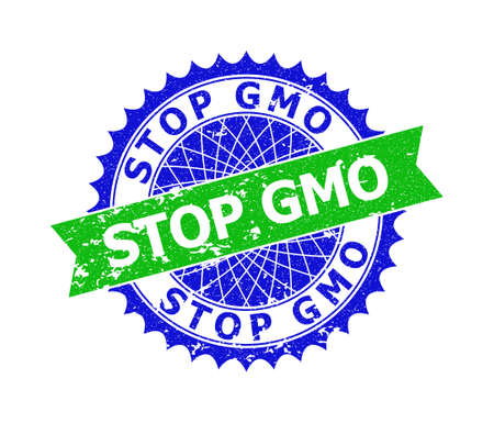 Vector STOP GMO bicolor stamp seal with unclean surface. Blue and green colors. Flat seal with STOP GMO title inside round sharp rosette. Ilustrace
