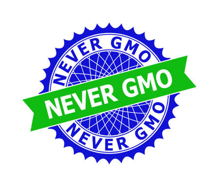 Vector NEVER GMO bicolor template for imprints with clean surface. Flat clean seal template with NEVER GMO message inside round sharp rosette. Blue color elements. Bicolor seal without textures. Ilustrace