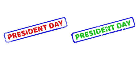 Vector PRESIDENT DAY framed watermarks with distress style. Rough bicolor rectangle stamps. Red, blue, green colors used. Flat distress stamps with PRESIDENT DAY title inside rough rectangle frame.