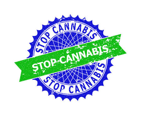 Vector STOP CANNABIS bicolor stamp seal with rough texture. Blue and green colors. Flat seal imprint with STOP CANNABIS text inside round sharp rosette. Vektorgrafik