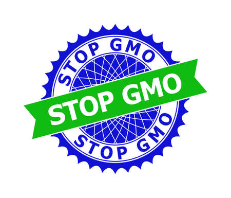 Vector STOP GMO bicolor template for imprints with clean surface. Flat simple seal template with STOP GMO text inside round sharp rosette. Blue color elements. Bicolor seal without textures.