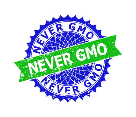 Vector NEVER GMO bicolor stamp with unclean surface. Blue and green colors. Flat seal stamp with NEVER GMO text inside round sharp rosette. Ilustrace