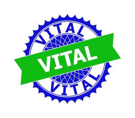 Vector VITAL bicolor template for imprints with clean surface. Flat clean seal template with VITAL message inside round sharp rosette. Blue color elements. Bicolor seal without textures.