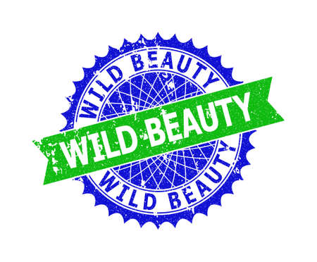 Vector WILD BEAUTY bicolor seal with distress texture. Blue and green colors. Flat seal imprint with WILD BEAUTY phrase inside round sharp rosette.