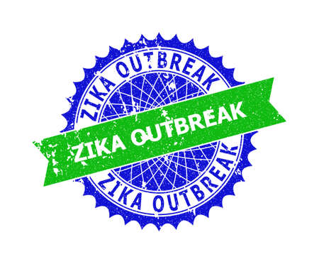 Vector ZIKA OUTBREAK bicolor watermark with rubber surface. Blue and green colors. Flat watermark with ZIKA OUTBREAK message inside round sharp rosette. Illusztráció