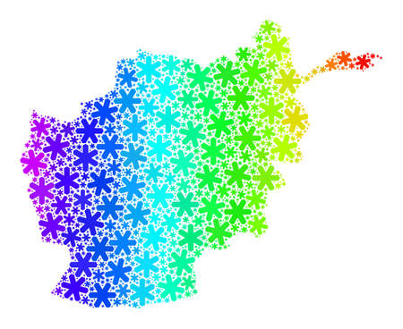 Rainbow gradient mosaic of Afghanistan map designed for Christmas holidays. Afghanistan map mosaic is done from multicolored snow icons. Designed for Christmas purposes.