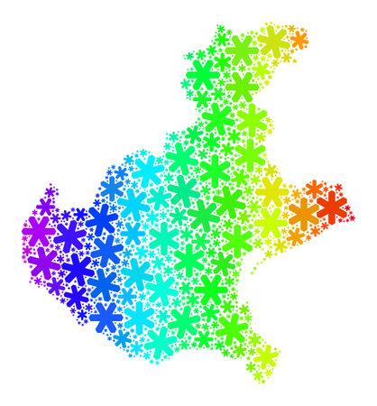 Rainbow gradient mosaic of Veneto region map organized for New Year celebration. Veneto region map mosaic is organized of bright snow elements. Designed for New Year ads. Illusztráció