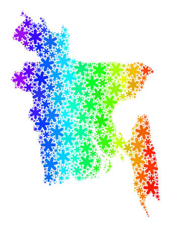 Bright gradient composition of Bangladesh map designed for Christmas celebration. Bangladesh map mosaic is created of vibrant snow elements. Designed for political purposes.
