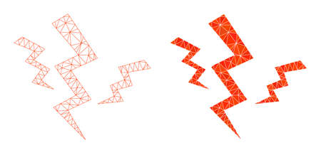Mesh crack strikes polygonal icon illustrations, filled and carcass versions. Vector net mesh crack strikes icons. Wire carcass and filled flat network abstract images based on crack strikes icon.