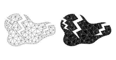 Mesh crack polygonal 2d illustrations, filled and carcass versions. Vector net mesh crack icons. Linear carcass and filled 2D net geometric symbols based on crack icon.
