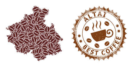 Coffee mosaic map of Altai Republic and corroded stamp. Vector map of Altai Republic collage is designed of coffee grains. Round rosette stamp in brown colors.