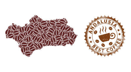 Coffee mosaic map of Andalusia Province and scratched stamp seal. Vector map of Andalusia Province collage is composed from coffee seeds. Round rosette stamp in brown colors.
