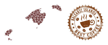 Coffee mosaic map of Balearic Islands and corroded seal. Vector map of Balearic Islands collage is composed from coffee seeds. Round rosette stamp in brown colors.