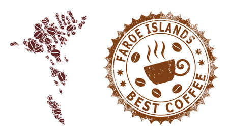 Coffee mosaic map of Faroe Islands and unclean stamp seal. Vector map of Faroe Islands collage is composed with coffee seeds. Round rosette stamp in brown colors.