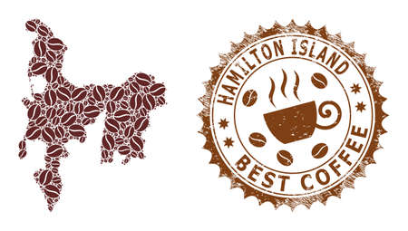 Coffee mosaic map of Hamilton Island and scratched stamp. Vector map of Hamilton Island collage is designed of coffee beans. Round rosette stamp in brown colors.