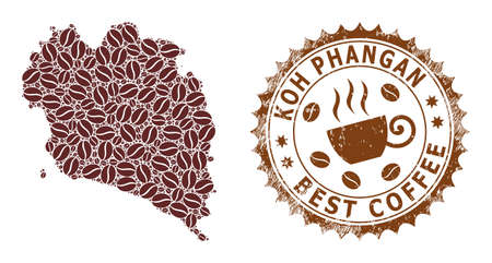 Coffee mosaic map of Koh Phangan and scratched stamp. Vector map of Koh Phangan collage is composed of cocoa. Round rosette stamp in brown colors. Abstraction composition for best coffee shops ads.