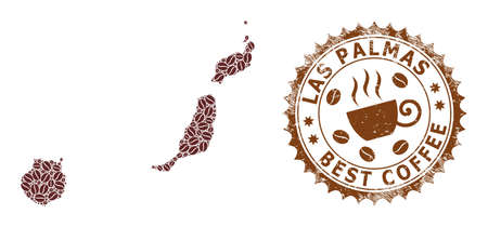 Coffee mosaic map of Las Palmas Province and corroded stamp. Vector map of Las Palmas Province collage is composed from chocolate beans. Round rosette stamp in brown colors. Ilustración de vector