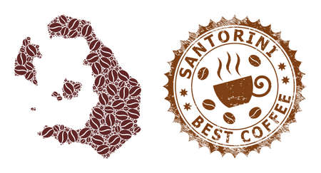 Coffee mosaic map of Santorini Island and rubber stamp seal. Vector map of Santorini Island collage is composed from coffee grains. Round rosette stamp in brown colors.