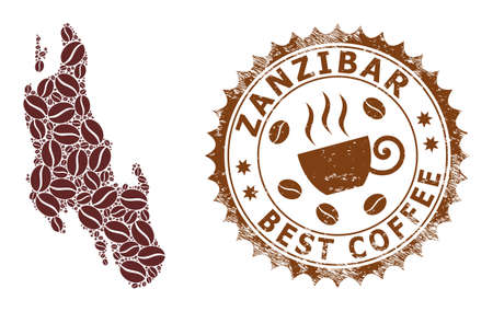 Coffee mosaic map of Zanzibar Island and corroded stamp seal. Vector map of Zanzibar Island collage is composed of chocolate. Round rosette stamp in brown colors.