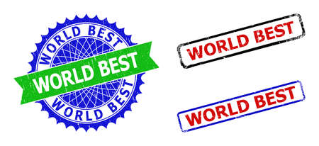 Bicolor WORLD BEST seal stamps. Green and blue WORLD BEST stamp with sharp rosette and ribbon. Rounded rough rectangular framed WORLD BEST seal stamps in red, blue, black colors, with distress style.