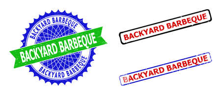 Bicolor BACKYARD BARBEQUE seal stamps. Green and blue BACKYARD BARBEQUE seal with sharp rosette and ribbon elements. Rounded rough rectangle framed BACKYARD BARBEQUE seal stamps in red, blue,