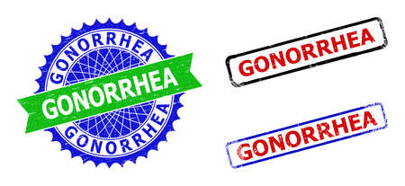 Bicolor GONORRHEA seal stamps. Green and blue GONORRHEA watermark with sharp rosette and ribbon design elements. Rounded rough rectangular framed GONORRHEA seal stamps in red, blue, black colors,