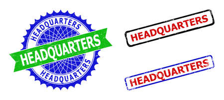 Bicolor HEADQUARTERS seal stamps. Blue and green HEADQUARTERS seal stamp with sharp rosette and ribbon elements. Rounded rough rectangular framed HEADQUARTERS badges in red, blue, black colors,