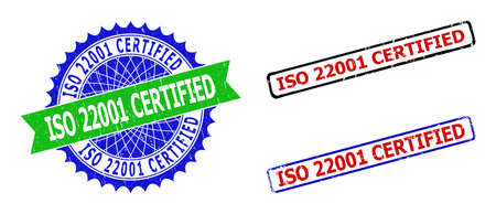 Bicolor ISO 22001 CERTIFIED stamps. Blue and green ISO 22001 CERTIFIED watermark with sharp rosette and ribbon. Rounded rough rectangular framed ISO 22001 CERTIFIED seal stamps in red, blue,