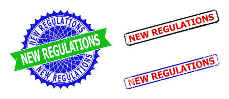 Bicolor NEW REGULATIONS seal stamps. Blue and green NEW REGULATIONS seal stamp with sharp rosette and ribbon. Rounded rough rectangle framed NEW REGULATIONS seal stamps in red, blue, black colors,