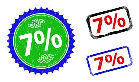 Bicolor 7% badges. Blue and green 7% stamp with sharp rosette and ribbon elements. Rounded rough rectangle framed 7% badges in red, blue, black colors, with unclean style.