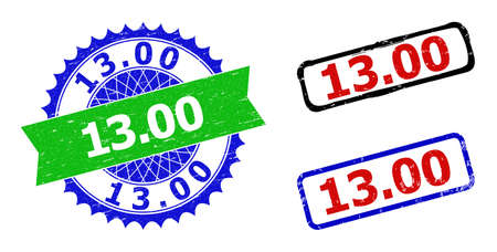 Bicolor 13.00 seal stamps. Green and blue 13.00 seal with sharp rosette and ribbon design elements. Rounded rough rectangular framed 13.00 seal stamps in red, blue, black colors,