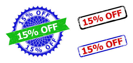 Bicolor 15% OFF badges. Green and blue 15% OFF seal with sharp rosette and ribbon design elements. Rounded rough rectangular framed 15% OFF seal stamps in red, blue, black colors,