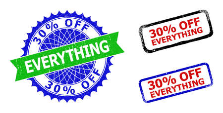 Bicolor 30% OFF EVERYTHING seal stamps. Blue and green 30% OFF EVERYTHING seal with sharp rosette and ribbon. Rounded rough rectangular framed 30% OFF EVERYTHING badges in red, blue, black colors,
