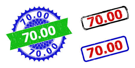 Bicolor 70.00 seal stamps. Green and blue 70.00 seal with sharp rosette and ribbon. Rounded rough rectangle framed 70.00 seal stamps in red, blue, black colors, with corroded style.
