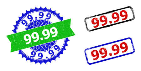 Bicolor 99.99 badges. Blue and green 99.99 watermark with sharp rosette and ribbon design elements. Rounded rough rectangle framed 99.99 badges in red, blue, black colors, with scratched style.