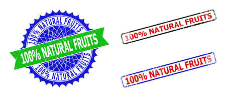 Bicolor 100% NATURAL FRUITS seal stamps. Blue and green 100% NATURAL FRUITS watermark with sharp rosette and ribbon. Rounded rough rectangular framed 100% NATURAL FRUITS seal stamps in red, blue,