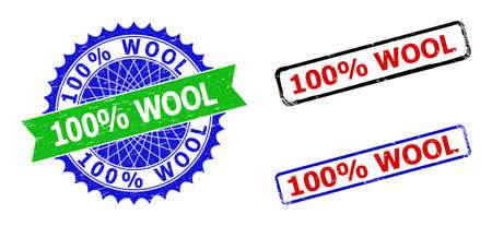 Bicolor 100% WOOL seal stamps. Blue and green 100% WOOL badge with sharp rosette and ribbon elements. Rounded rough rectangle framed 100% WOOL stamps in red, blue, black colors, with grunge texture.