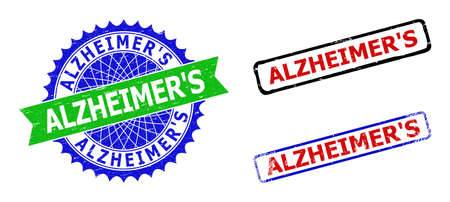 Bicolor ALZHEIMERS seal stamps. Blue and green ALZHEIMERS badge with sharp rosette and ribbon design elements. Rounded rough rectangular framed ALZHEIMERS seal stamps in red, blue, black colors,