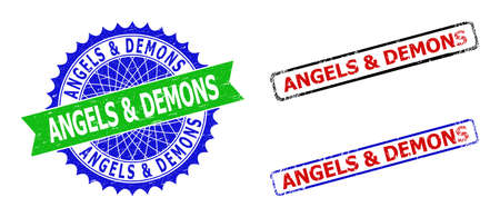 Bicolor ANGELS & DEMONS seals. Green and blue ANGELS & DEMONS badge with sharp rosette and ribbon. Rounded rough rectangular framed ANGELS & DEMONS seals in red, blue, black colors,