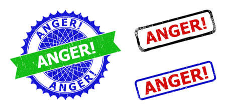 Bicolor ANGER! seal stamps. Green and blue ANGER! seal stamp with sharp rosette and ribbon design elements. Rounded rough rectangular framed ANGER! stamps in red, blue, black colors,
