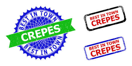 Bicolor BEST IN TOWN CREPES stamps. Blue and green BEST IN TOWN CREPES seal stamp with sharp rosette and ribbon elements. Rounded rough rectangle framed BEST IN TOWN CREPES seal stamps in red, blue,