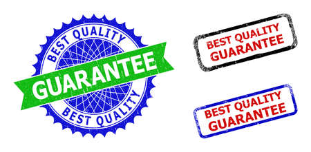 Bicolor BEST QUALITY GUARANTEE seal stamps. Green and blue BEST QUALITY GUARANTEE seal with sharp rosette and ribbon design elements.