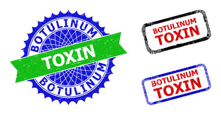 Bicolor BOTULINUM TOXIN seal stamps. Blue and green BOTULINUM TOXIN badge with sharp rosette and ribbon design elements. Rounded rough rectangle framed BOTULINUM TOXIN seal stamps in red, blue,