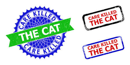 Bicolor CARE KILLED THE CAT seal stamps. Blue and green CARE KILLED THE CAT seal with sharp rosette and ribbon elements. Rounded rough rectangular framed CARE KILLED THE CAT stamps in red, blue,