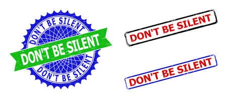 Bicolor DONT BE SILENT seal stamps. Green and blue DONT BE SILENT seal with sharp rosette and ribbon design elements. Rounded rough rectangle framed DONT BE SILENT watermarks in red, blue, Vektoros illusztráció