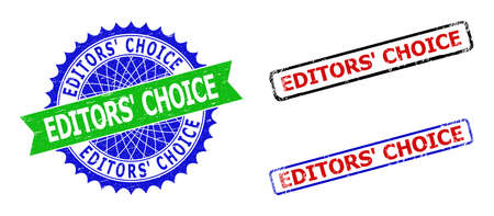 Bicolor EDITORS CHOICE badges. Green and blue EDITORS CHOICE watermark with sharp rosette and ribbon elements. Rounded rough rectangle framed EDITORS CHOICE badges in red, blue, black colors,