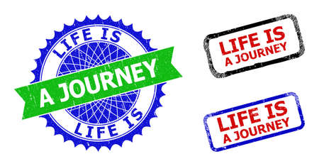 Bicolor LIFE IS A JOURNEY seal stamps. Blue and green LIFE IS A JOURNEY seal stamp with sharp rosette and ribbon elements. Rounded rough rectangular framed LIFE IS A JOURNEY seal stamps in red, blue, Иллюстрация